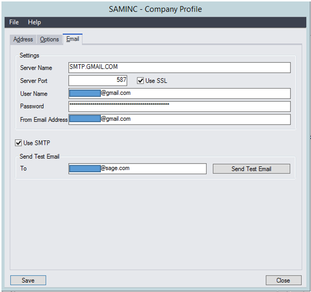 SMTP Options for printing to Emails - Sage 300 Support and