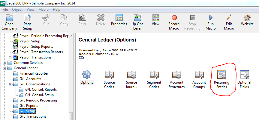 play it again how to set up recurring general ledger entries in