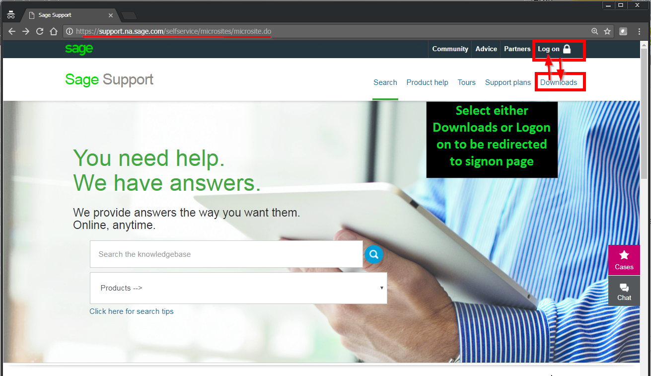 Where to locate the latest sage product updates and downloads.