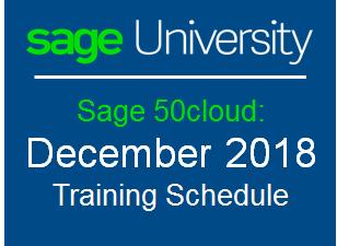 Upcoming Sage 50 Training Schedule for December 2018 - Sage
