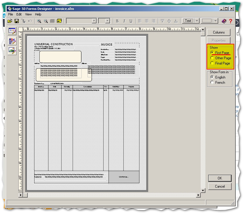 2) How to customize the 1st and last page of a form - Sage 50 CA ...