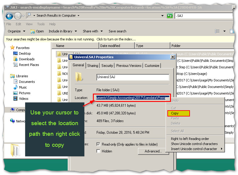 Finding Missing  SAI,  SAJ,  CAB files and more - Sage 50 CA Support