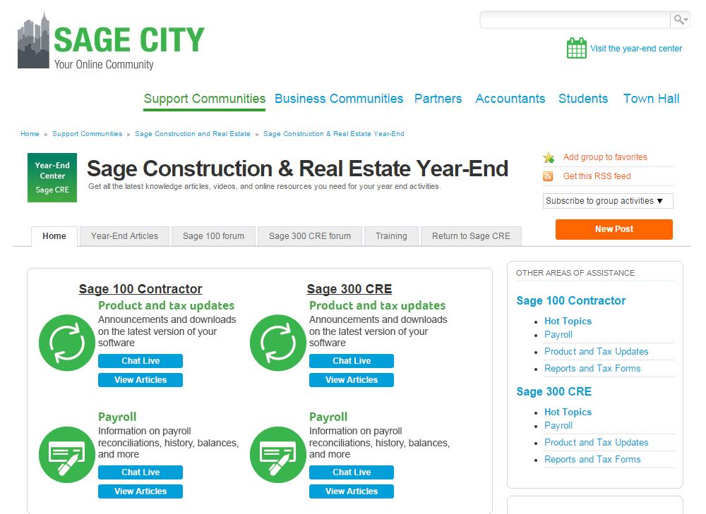 The 2014 Year End Center is LIVE! - Sage CRE Support and