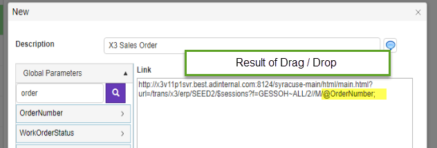 How to use SEI Application Links to open a function in Sage