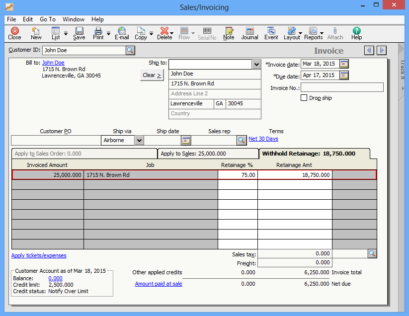 Progress billing part ii sage 50 u s support and for Sage line 50 invoice template
