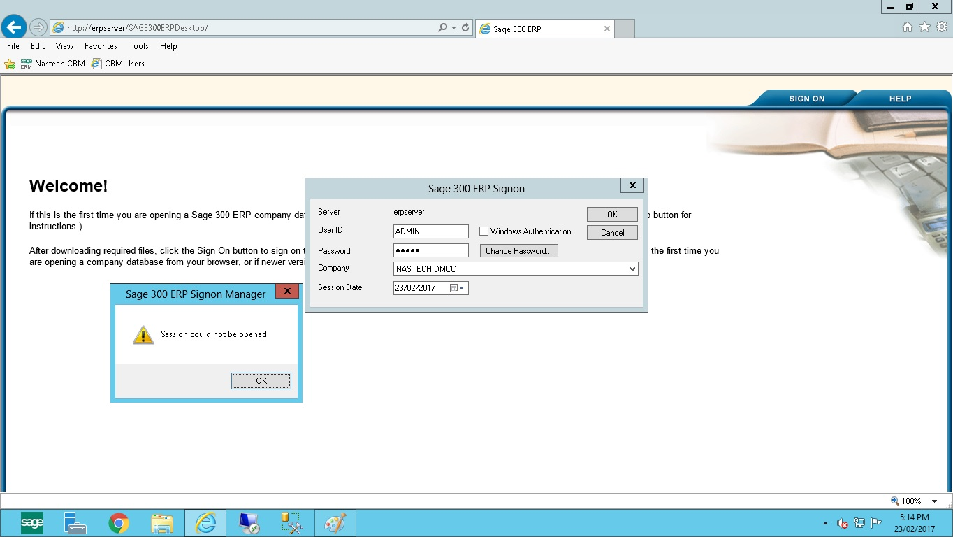 Web Deployment Session Could not be Opened - Sage CRM for