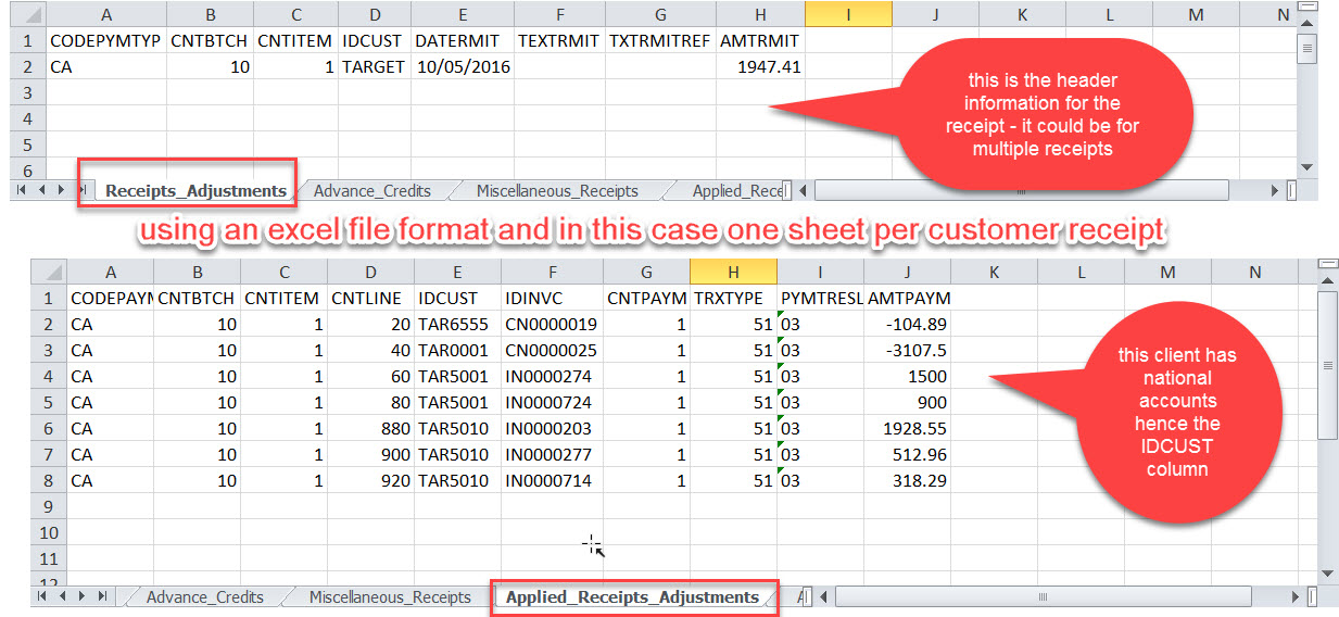 importing cash receipts and applying to invoices sage 300