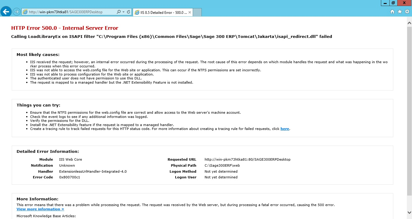 HTTP Error 500 0 - Internal Server Error - Sage 300 Reports