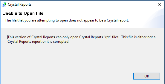 Crystal Reports 2013: cannot open  RPT file - Sage 300 Construction