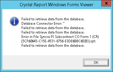 Crystal Reports Error - Database Connection Error - Sage 300