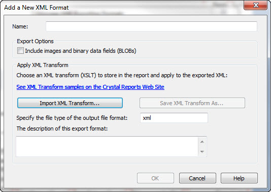 How to change XML Export Schema in Crystal Reports 2011 - Sage 100