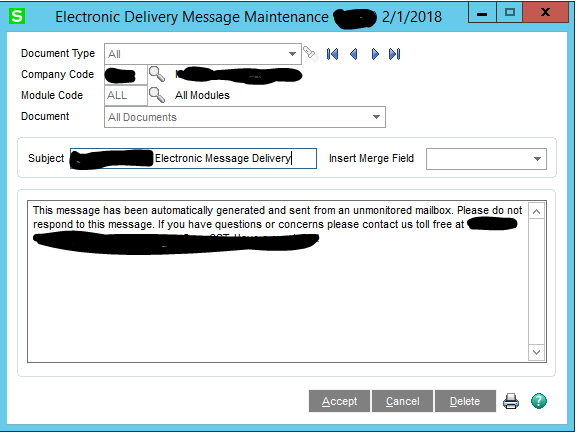 Electronic Delivery Message Maintenance - Message not