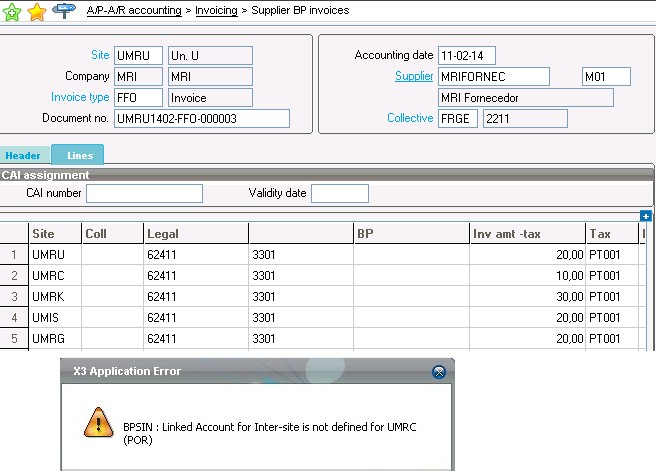 Error: BPSIN: LInked Account Inter-site is not defined (Supplier BP