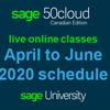 Sage 50 Online Training Schedule - April to June 2020