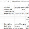 How to create formulas for a rolling income statement using the Sage Intelligence Financial Report Designer and Microsoft Excel