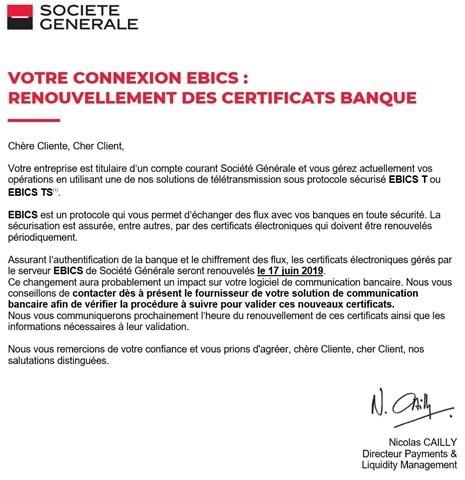 Evolution Du Serveur D Echange Ebics De La Banque Sg