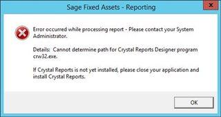 Sage 2018 1 Upgrade - Open Existing Report crw32 exe error