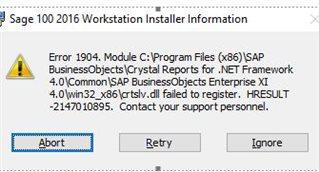 Workstation installation error  - Sage 100 Technical and