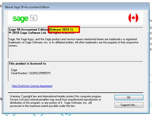 sage 50 accounts change serial number