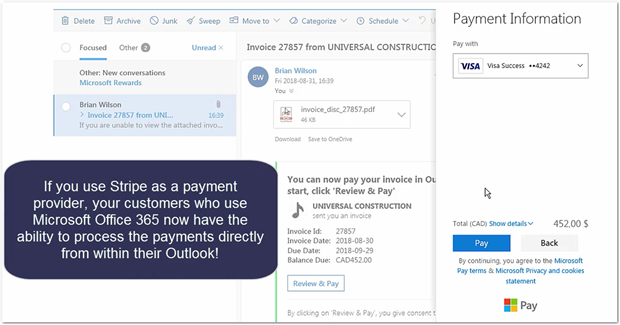 How to setup Payments in Outlook new to release 2019 0