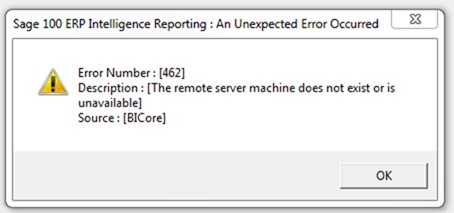 Error 462 while attempting to run Sage Intelligence Reports (in Sage
