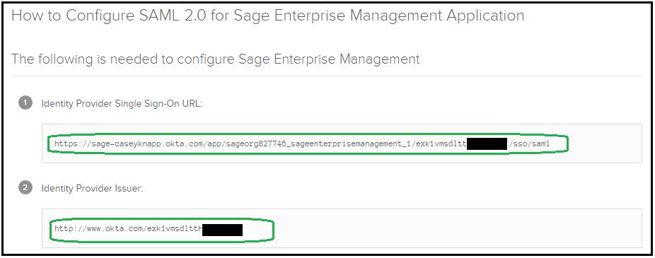 How do I setup SAML2 authentication with Okta in Sage Ent  Mgmt